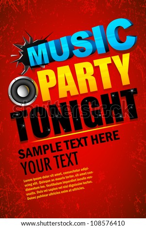 vector illustration of poster for music party - stock vector