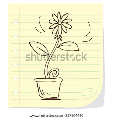 Vector illustration of potted plant in doodle style - stock vector