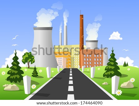 Vector illustration of power plant  - stock vector