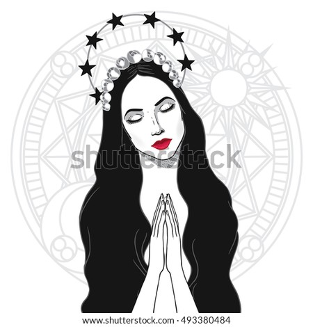Vector illustration of praying Blessed Virgin  Mary. Queen of Heaven.