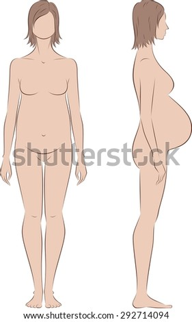 Vector illustration of pregnant female silhouette. Proportions in birth. Front and side views - stock vector