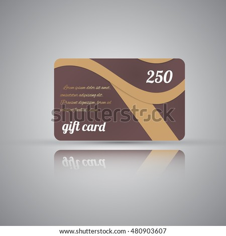 Vector illustration  of premium  gift card template  in material design style with reflection on grey background. Grey, yellow and gold color.