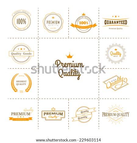 Vector illustration of Premium quality labels set - stock vector
