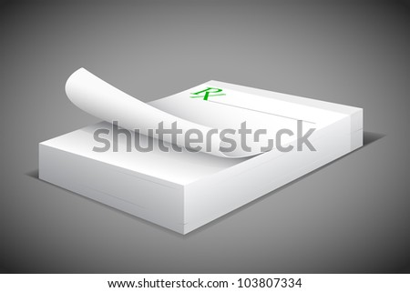 vector illustration of prescription notepad against abstract background - stock vector