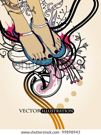 vector illustration of pretty feet in summer sandals on an abstract floral background