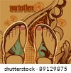 vector illustration of  pretty feet on an abstract background - stock vector