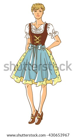 Vector illustration of pretty girl in german traditional dress isolated on white background