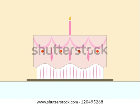 vector illustration of pretty, pastel colored birthday cake with one lit candle and pink frosting - stock vector