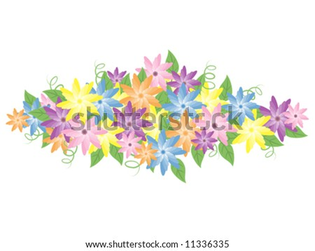 Vector illustration of pretty pastel flower bouquet.