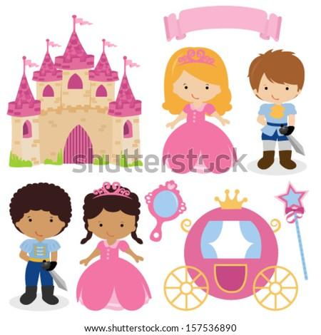Vector Illustration of Princess Design Elements - stock vector