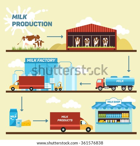 Vector illustration of production stages and processing of milk from a dairy farm to table. - stock vector
