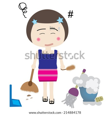 vector illustration of professional maid is busy