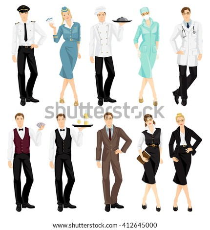 Vector illustration of professional people in uniform isolated on white background.  - stock vector