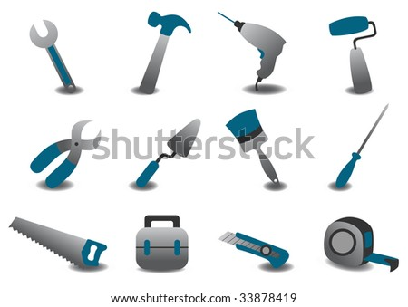 Vector illustration of professional repairing tools icons. - stock vector