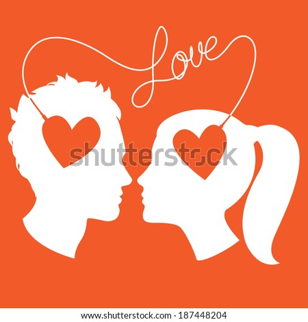Vector Illustration of  Profiles of man and woman connected by love wire - stock vector