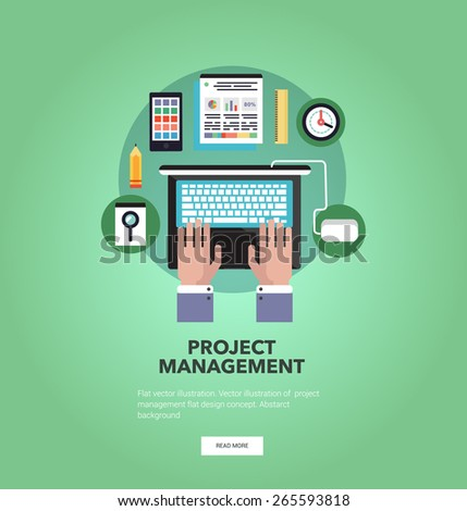 Vector illustration of project management, concept with icons. Flat design. - stock vector