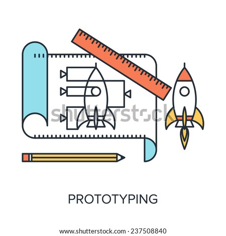 Vector illustration of prototyping flat line design concept. - stock vector