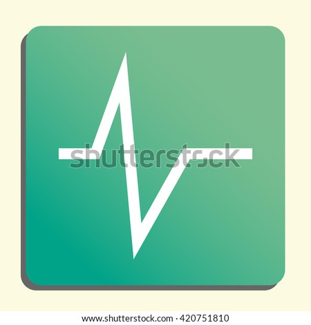 Vector illustration of pulse sign icon on green light background. - stock vector