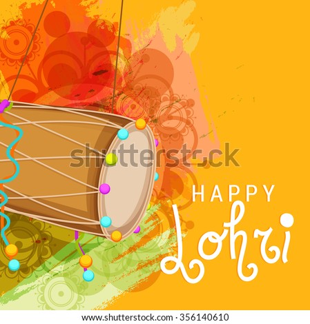 Vector illustration of Punjabi Festival Happy Lohri  celebration with colorful Background. - stock vector