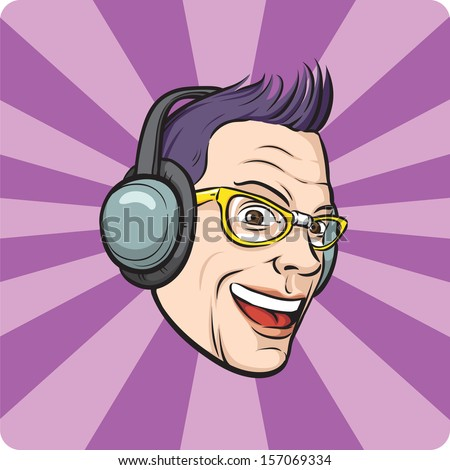 Vector illustration of Punk with headphones. Easy-edit layered vector EPS10 file scalable to any size without quality loss. High resolution raster JPG file is included. - stock vector