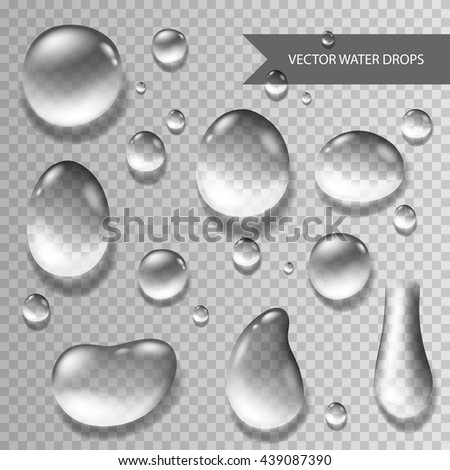 Vector Illustration of Pure Clear Realistic Water Drops - stock vector
