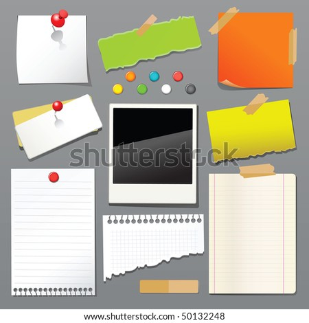 Vector illustration of push pin collection with set note papers - stock vector
