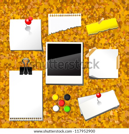 Vector illustration of push pin collection with set note papers on cork desk . - stock vector