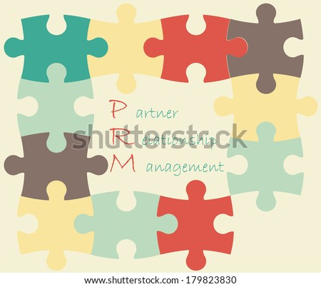 Vector illustration of puzzles with PRM acronym. Partner Relationship Management. Flat design.  - stock vector