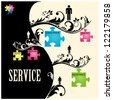 Vector illustration of puzzles with words on the topic of service. - stock photo