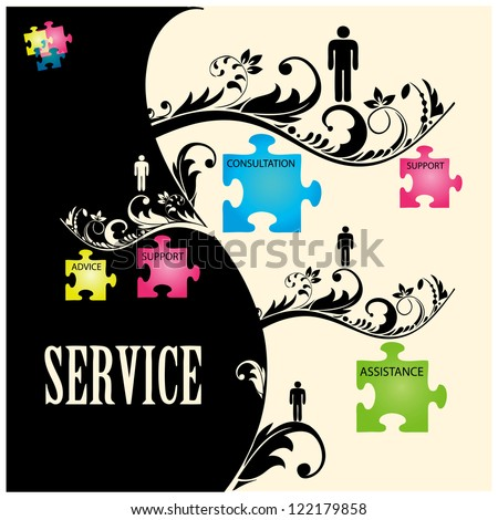 Vector illustration of puzzles with words on the topic of service. - stock vector