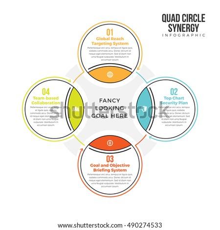 Vector illustration quad circle synergy infographic imagem vetorial vector illustration of quad circle synergy infographic design element ccuart Images