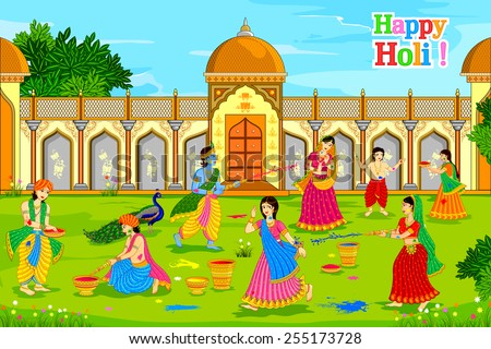 Radha Krishna Holi with Gopikas HD Wallpapers, Images, Pictures, Photos, Vector, Graphics, Pics and Snaps for Free Download