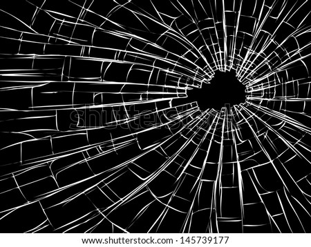 Vector illustration of radial cracks on broken glass with hole sharp edges (as damage from bullets).