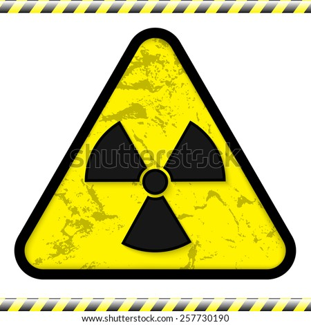 Vector illustration of radiation sign with warning strip - stock vector