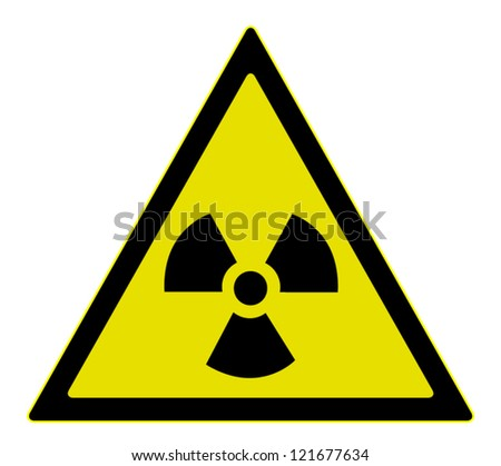 Vector illustration of radiation warning sign, isolated on white background - stock vector