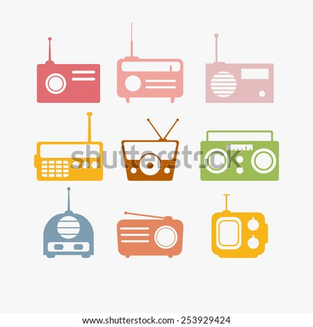 Vector illustration of Radio isolated objects set - stock vector