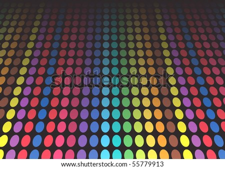 Vector illustration of rainbow colored dots on black