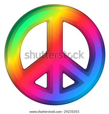 Vector illustration of rainbow dimensional peace sign.