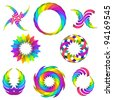 vector illustration of rainbow icon set for your design - stock photo