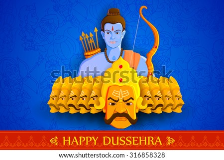vector illustration of Rama killing Ravana in Happy Dussehra - stock vector