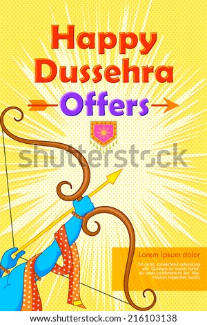 vector illustration of Rama with bow and arrow in Happy Dussehra Offer poster - stock vector