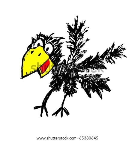 vector illustration of  raven - stock vector