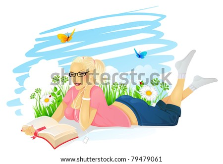 Vector illustration of Reading woman