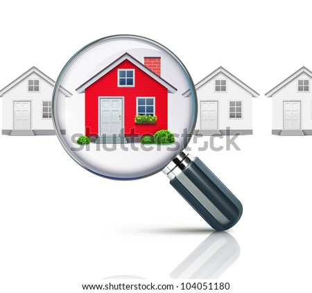 Vector illustration of real-estate concept with magnifying glass and your dream house - stock vector