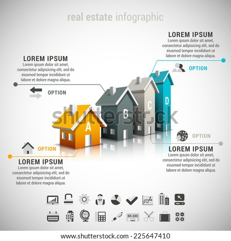 Vector illustration of real estate  infographic made of houses. 22 icons inside file. EPS10. - stock vector