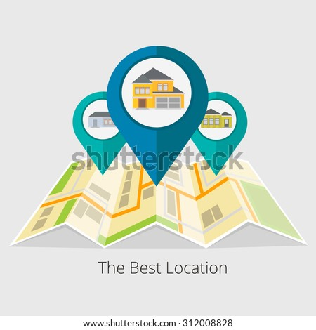 Vector illustration of real estate infographic pointing to the house. Real estate, house for sale, installment sale, credit,rent.  The best location - stock vector