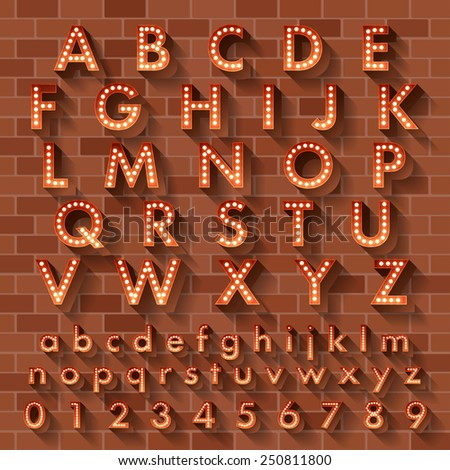 Vector illustration of realistic ball lamp alphabet for light board.Orange grow text on brick wall as background - stock vector
