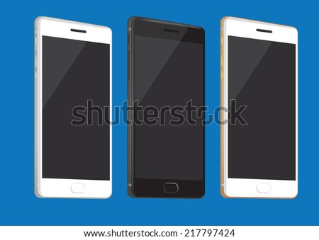 Vector illustration of realistic brand new smart phone in three different colors isolated on blue background - stock vector