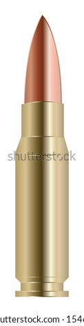 vector illustration of realistic bullet. Isolation over white background. War munition.