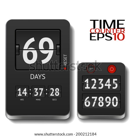 Vector illustration of realistic flip timer isolated on white. All numbers included - stock vector
